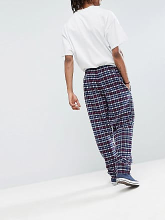 6f69e8cb2ea Reclaimed Vintage Inspired Track Pants In Check - Navy