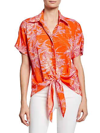 bcb80213f10 Finley Lindy Printed Button-Front Short-Sleeve Tie-Hem Top