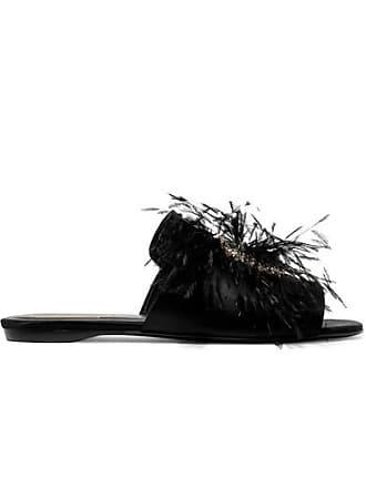 e90acb92a02 Roger Vivier Rabat Feather And Crystal-embellished Satin Slides - Black