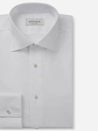 Apposta Camicia tinta unita bianco 100% cotone wrinkle free oxford doppio ritorto, collo stile semifrancese