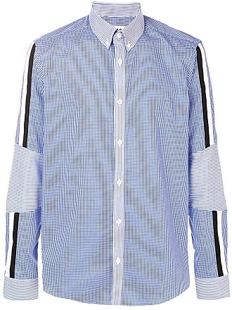 Les Hommes checked panelled shirt - Azul