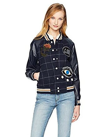 William Rast Womens Bettie Varsity Jacket, Night Sky, Medium