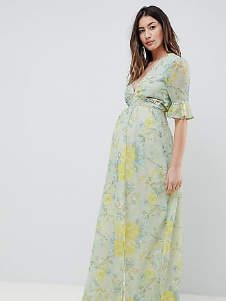 Hope & Ivy Maternity Floral Printed Maxi Dress With Thigh Split - Multi