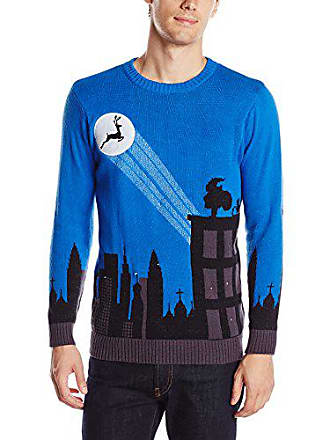 Blizzard Bay Mens Cityscape Light Up Ugly Christmas Sweater, Blue/Black, Large