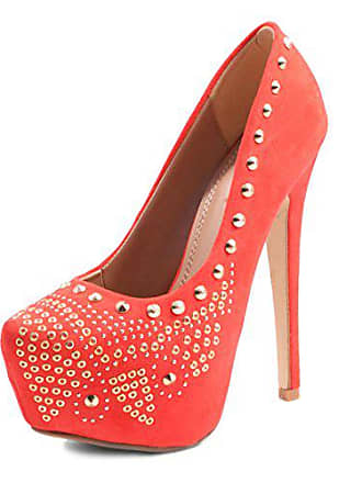 36424eff950584 Jumex Damen Nieten Party Schuhe Pumps High Heels Coral 38