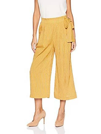 J.O.A. JOA Womens Side TIE Pleated Wide Leg Pant, Mustard Stripe, M