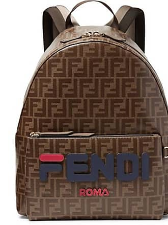 8c178458e58b Fendi Logo-appliquéd Leather-trimmed Printed Coated-canvas Backpack - Brown