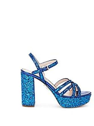 cfc8b663b414 Miu Miu Womens Glitter   Leather Multi-Strap Platform Sandals - Bluette  Size 7.5