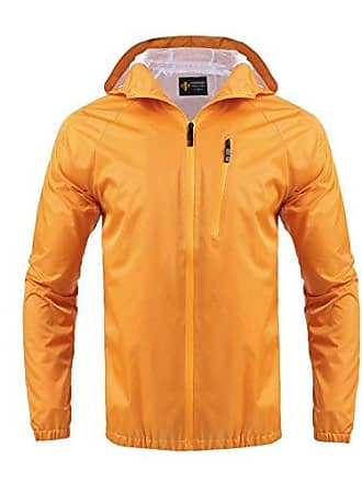 90fef163f62e19 Modfine Regenjacke Herren Windbreaker Zipper Übergangsjacke Wasserdicht  Atmungsaktiv Outdoor jacke Kapuzenjacke Funktionsjacke Orange XXL 44
