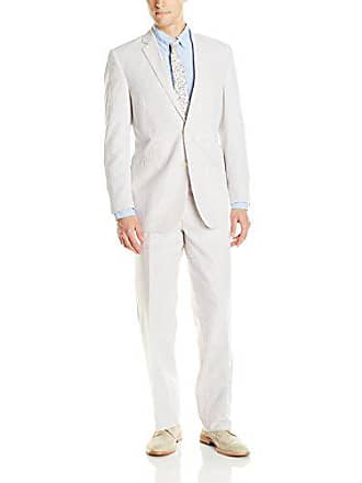 U.S.Polo Association Mens Two Button Nested Suit, Tan/White, 44 Regular