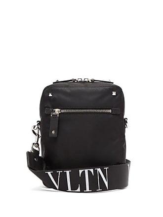 Valentino Vltn Jacquard Rockstud Messenger Bag - Mens - Black