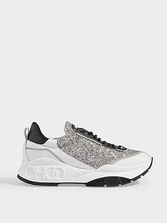 11174ec4a71 Jimmy Choo London Raine Lace Up Sneakers in Platinium Mix Calfskin and  Painted Coarse Glitter Fabric