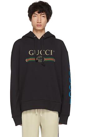 410fda3ac3a Gucci Black Embroidered Logo Hoodie