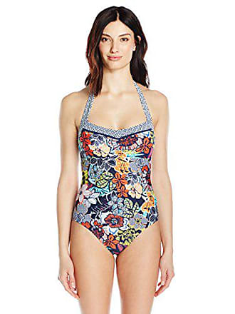 f1737e44d8 Ellen Tracy Womens Hawaiian Punch Floral Tie Halter Mio One Piece Swimsuit