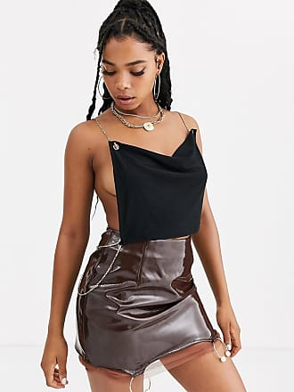 ZYA The Label cowl neck backless top with chain detail-Black