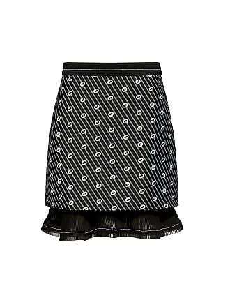 Carven Jacquard Ruffled Pleats Mini Skirt Black/white