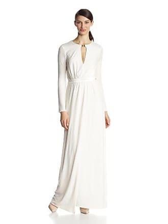 1fb06504d737 Halston Heritage Womens Long Sleeve Jersey Evening Gown with Slit  Front,Chalk, Large
