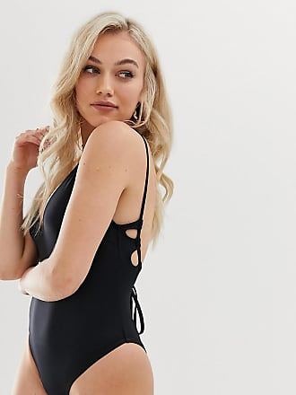 346c21f2cb45d Asos Petite ASOS DESIGN Petite recycled key hole channel back swimsuit in  black - Black