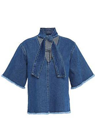 See By Chloé See By Chloé Woman Tie-neck Frayed Denim Top Mid Denim Size 34