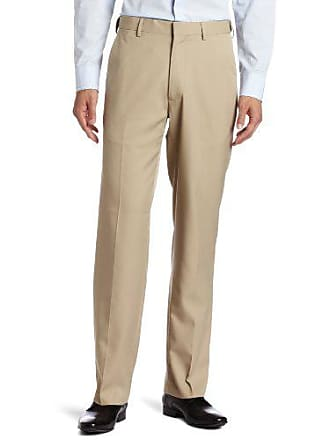 Haggar Mens Flex Gab Plain Front Expandable Waistband Straight Fit Dress Pant, Khaki, 38x29