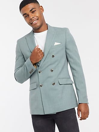 Burton Menswear double breasted skinny suit jacket in sage green