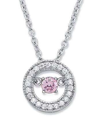 PalmBeach Jewelry 20 TCW CZ in Motion Birthstone and CZ Halo Pendant Necklace in Sterling Silver 18 - June- Simulated Alexandrite