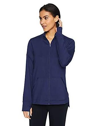 Natori Womens Jersey Zip-Up Jacket, Midnight Navy S