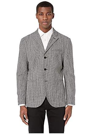John Varvatos Easy Fit Button Front Jacket JVSO1773U4 (Black/White) Mens Clothing