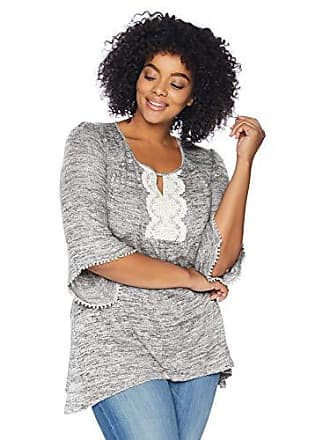 Oneworld Womens Plus-Size Flared Sleeve Lace Trim Top, Gunmetal, 2X