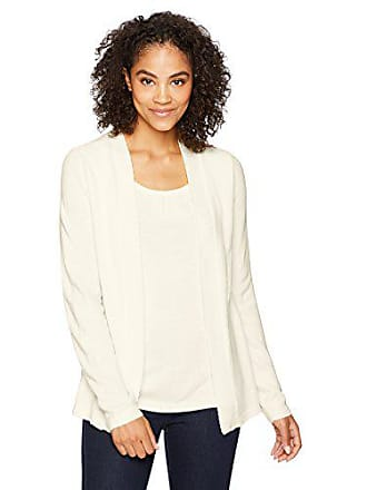 Sag Harbor Womens Long Sleeve Scallop Edge 2fer, Ivory, L