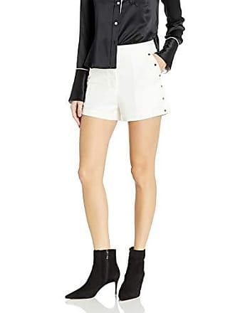 J.O.A. JOA Womens High Waist Shorts with Side Studs, Cream, L