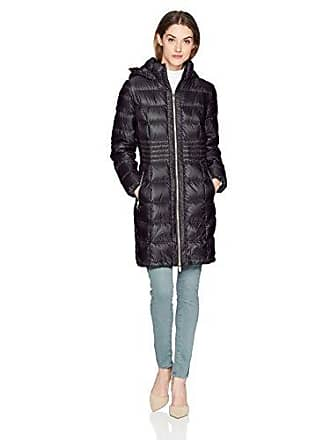 Via Spiga Womens Metallic Packable Down Coat with Hood, Black, Small