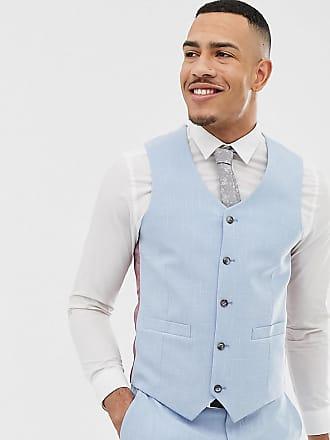 Asos Chaleco de traje entallado con pespuntes en azul de ASOS DESIGN Tall  Wedding 6c47b5fa46e