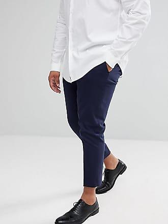Asos Plus skinny cropped smart pants in navy - Navy