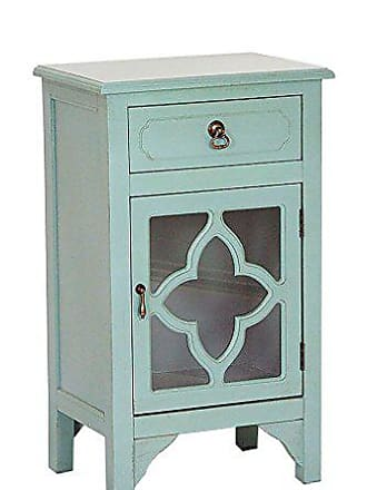 Heather Ann Creations Elegant Contemporary Standing Single Drawer Distressed Finish Cabinet with Clover Glass Window Inserts, 30 x 18, Turquoise