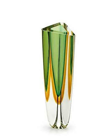 Cristais cá d'Oro Vaso Triangular nº 2 Bicolor Verde com Âmbar