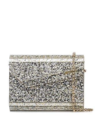 Jimmy Choo London Candy glitter-effect envelope clutch - Metálico