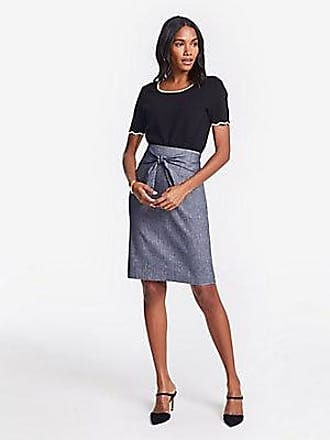 ANN TAYLOR Petite Chambray Tie Waist Pencil Skirt