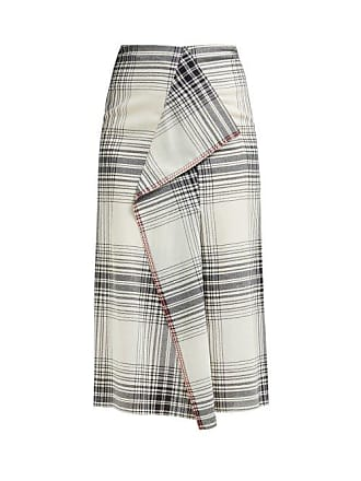 Roland Mouret Casha Wool Crepe Skirt - Womens - Black White