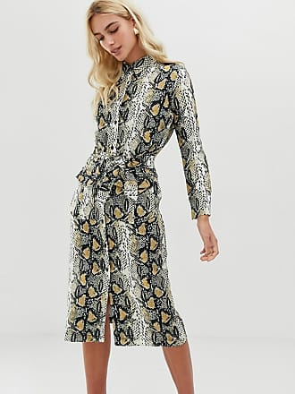 a2c6ebc48f37 Zibi London Vestito camicia midi con cintura e stampa serpente - Beige