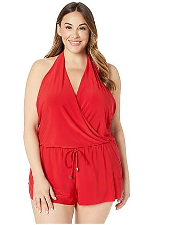 48c8a63b590 Magic Suit By Miraclesuit Plus Size Solid Bianca Romper One-Piece (Rouge)  Womens