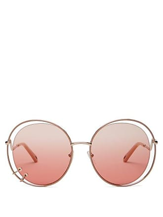 Chloé Carlina Oversized Round Metal Sunglasses - Womens - Pink