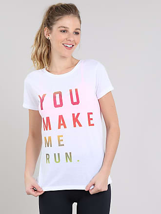 Ace Blusa Feminina Esportiva Ace You make me Run Manga Curta Branca