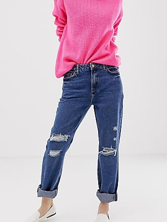 New Look boyfriend jeans with rips in blue - Blue