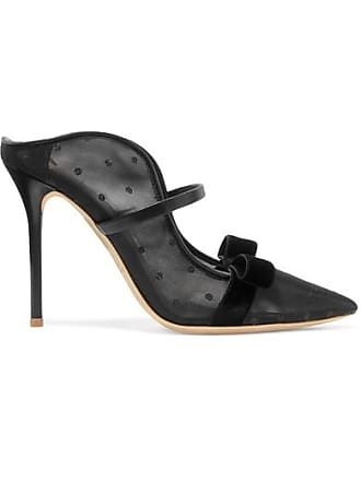 Malone Souliers Marguerite 100 Velvet And Leather-trimmed Mesh Mules - Black