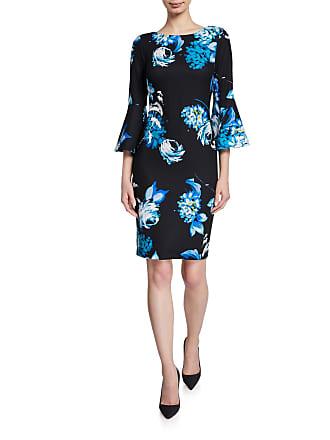 Iconic American Designer Dark Floral Bell-Sleeve Crepe Sheath Dress