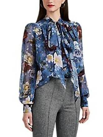 78791089bec0e6 Erdem Womens Lucien Floral Silk Chiffon Blouse - Blue Multi Size 10 UK
