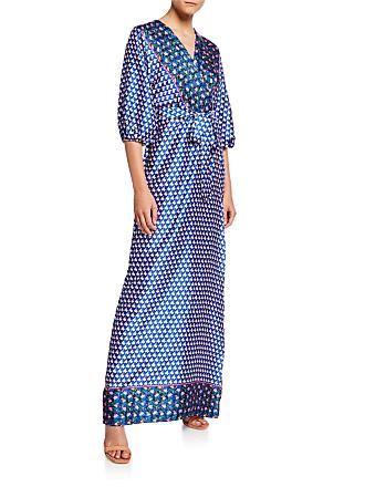 Neiman Marcus Mixed Pattern Faux-Wrap Maxi Dress