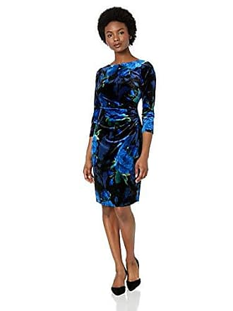 07d394ca27f Jessica Howard Womens Petite Three Quarter Sleeve Side Tuck Sheath Velvet  Dress