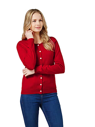 WoolOvers Womens Cashmere and Merino Luxurious Crew Neck Cardigan Red 8727b6a84